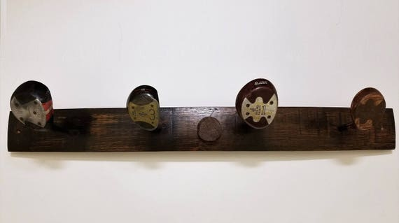 Golf & Wine Wall Coat Rack - Used Wine Barrel Stave with Vintage Wood Golf Club Heads