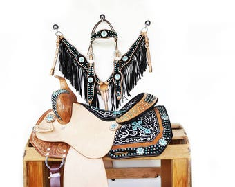 Western Horse Pleasure Trail Barrel Racer leather Turquoise Embroidered Cross Saddle Fringe Bling Bridle Breast Collar Set