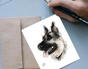 German shepherd card // german shepherd greetings card // german shepherd birthday card // gifts for german shepherd lovers // dog card