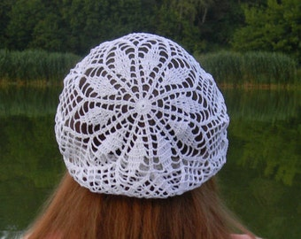 Summer beanie Summer hat Cotton crochet beret white gift for women boho gifts for women hat knitted beach hat women's hat summer accessories