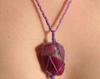 Pink Agate macrame pendant, Boho necklace, Healing Stone Necklace, Hippie Necklace