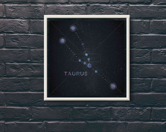 Taurus Star Sign Constellation Digital Print, High Resolution for Large Print, Instant Download