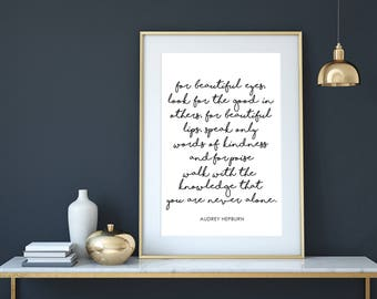 Audrey Hepburn Quote Audrey Hepburn Printable Wall Art  For Beautiful Eyes Audrey Hepburn Digital Poster Modern Minimalist Black and white
