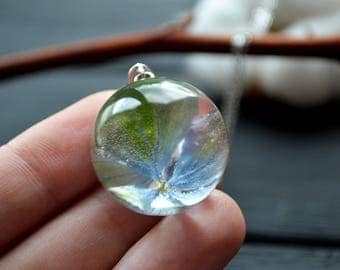 Resin Jewelry - Natural jewelry Botanical pendant - blue hydrangea resin - Resin hydrangea Necklace