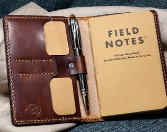 Wickett & Craig Field Notes Cover Pen Holder / Moleskine Cover - Med Brown Harness Full Grain Leather / Moleskine Wallet / Personalized