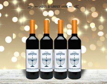 Happy Hanukkah Wine Labels, festival of lights, Menorah, Dreidels, Latkes, Jewish holiday, Hanukkah card, Chanukah