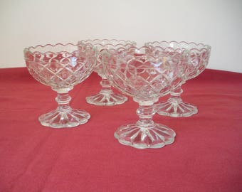 Vintage Hocking Waterford/ Waffle-scalloped Sherbet - set of 4.