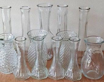 Wedding Vases Set of 13 Mid Century Glass Vases Variety of Sizes