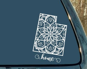 Mandala Decal, Utah Decal, State Decal, Car Decal, Laptop Sticker, Mandala Sticker, Cup, Mug, Home, Woman Gift, Man Gift, Girl Gift