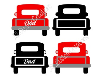 Dad Vintage Truck SVG, EPS, DXF, Png Cut File for Silhouette, Cricut, Vector, Old School Truck, Father's Day, Old School, Back of Truck