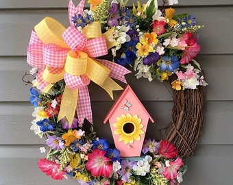 ON SALE NOW Summer Wreath, Spring Grapevine Wreath for Front Door, Birdhouse Wreath, Summer Spring Wreath for Front Door Wreath, Petunia Wre