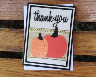 Glittery pumpkin card, Thank You, Happy Birthday, Hello, Congrats, Thinking of You, Happy Anniversary, All Occasion Greeting Card, Fall