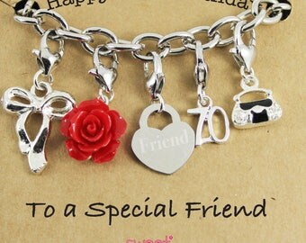Happy 70th Birthday Rose Lucky Charm Bracelet Gift for Bestie, Sister, Niece, Mam, Special Friend.