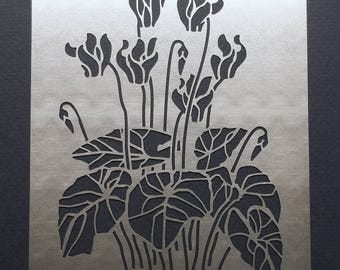 Cyclamen Winter Flower Stainless Steel Metal Stencil 11cm x 8cm