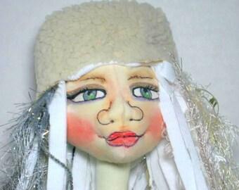 Winter Elf Cloth Art Doll, Fairy Maiden Soft Sculpture, Christmas Holiday Fantasy Display Doll, JDCreativeDolls