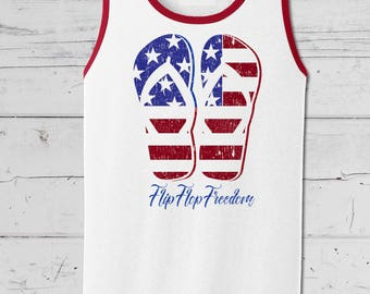Flip Flop Freedom, Fourth of July Mens Tank Top,