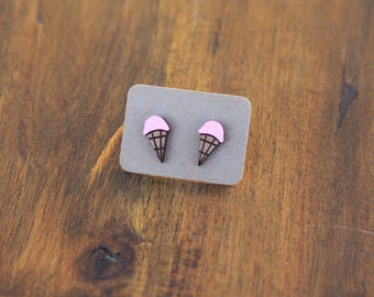 Strawberry ice cream earrings, laser cut wood earrings