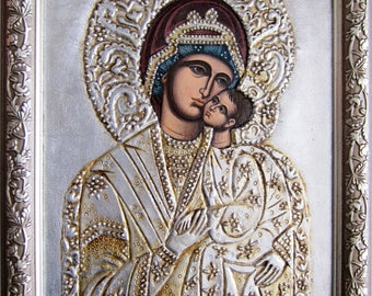 Miraculous Virgin from Bachkovo monastery,Virgin and child,orthodox icon,Byzantine icon,Russian icon, small version,silver icon,relief icon