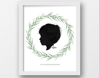 Custom Silhouette, PRINTABLE ART, Profile silhouette, Watercolor, Wreath, Nursery wall art, Mother's day, Father's day gift, Birthday gift