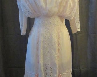 Mid-Summer Sale 20%OFF Edwardian Light Pink Cotton Day Dress