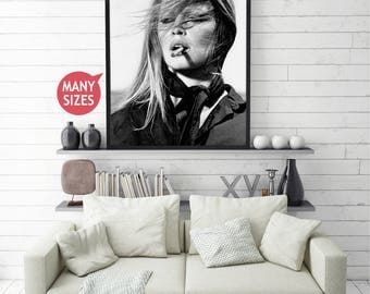 Fashion Photography Prints • Brigitte Bardot Brigitte Black and White Photography Home Decor Wall Art Trending Now French Decor Wall Bridget