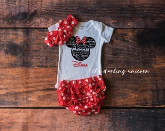 Minnie Mouse Disney Princess Outfit, disney outfit, toddler outfit, baby girl outfit, red polka dot skirt, minnie mouse skirt, personalized