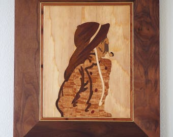 The Fisherman #82 vintage marquetry picture