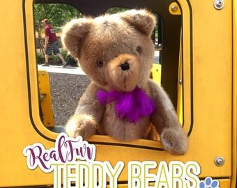 Muskrat Light-Brown Teddy Bear by RealFurTeddyBears - FREE SHIPPING
