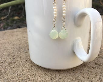New Jade briolett and pearl earrings