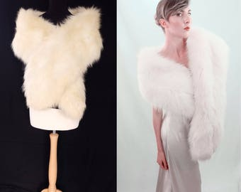 Vintage massive ivory/white/arctic fox real fur stole/wrap/boa. perfect bridal piece