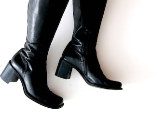Vintage Leather Boots Black Leather Shoes Spring Boots Chunky Boots Black Genuine Leather Boots Goth Boots Grunge Boots 90s Boots Size US 8