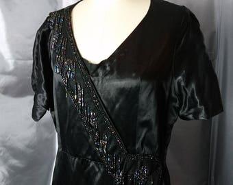 Vintage 30's beaded evening dress, art deco, flapper style dress, hand sewn