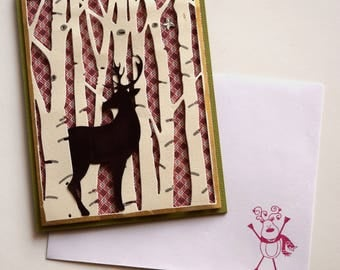 Christian Christmas Card - Deer in Birch Tree Holiday Card - Christmas Reindeer Card - Religious Holiday Card - Layered Christmas Card