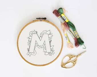 Letter M Embroidery Pattern, Floral Embroidery Pattern, PDF Embroidery Pattern, Initials Embroidery Pattern, Embroidery Design PDF Download