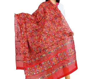 Designer kuchi Hand Embroidered ethnic clothing rajasthani dupatta Scarf Hand Weaved with Multicolour Thread Dupatta for Saree / Salwar Suit