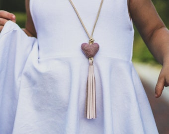 Little girls baby pink leather tassel necklace with heart wool felt pom pom