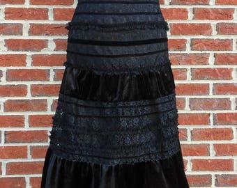 90s Midi Goth Black Velvet and Lace Tiered Midi Skirt - 1990s Knee Length Victorian Gothic Lolita Ruffle Formal Skirt