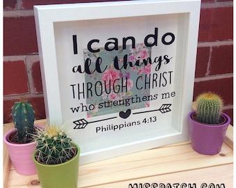 Philippians 4.13 Bible Verse Scripture Shadow Box Frame