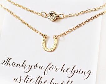Horseshoe necklace, Country Bridesmaid necklaces, gold and crystal necklace set, gold bridesmaid necklaces