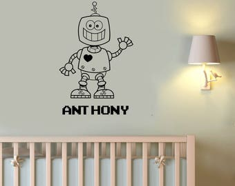 Funny Robot Custom Name Wall Decal Android Personalized Sticker Robotic Vinyl Art Droid Decorations for Home Boys Kids Room Decor rt9