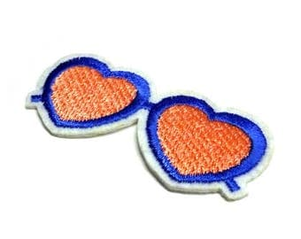 Pink Heart Glasses Patch, Blue Frames Heart Glasses Patch, Glasses Iron on Patch - H1033