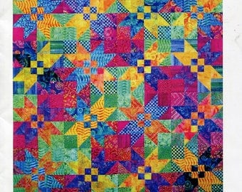 Check Out the Stars Quilt Sewing Pattern, Quilt Moments, Four Sizes, Throw, Twin, Queen, King, 2007, Complete