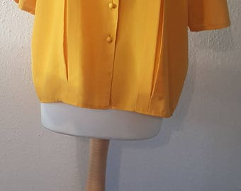 1980s St Michael blouse•vintage blouse•yellow blouse•yellow top•womens top•womens blouse•UK large•UK 14/16/18•US 12/14/16