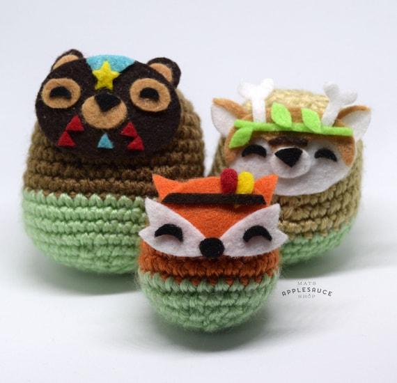 Amigurumi Russian Dolls : Cute Crochet Forest Russian Doll Set Amigurumi Plushies
