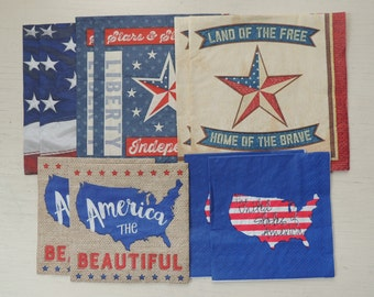 10 Decoupage Napkins,USA Napkins,Paper Napkin,America The Beautiful Napkin,Stars and Stripes Napkin,Land of the Free Home of the Brave