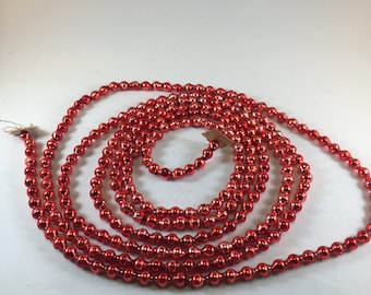 Red Vintage Christmas Tree Mercury Glass Beaded Garland Strand 7 Feet Long