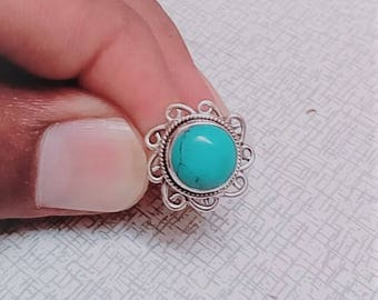 Tibetan Turquoise Ring, Turquoise Gemstone Ring, 925 Sterling Silver Ring, Bezel Set Ring, Turquoise Gemstone Ring Size 9 Unique ring