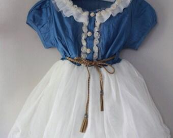 Country Flower Girl Dress- Denim Flower Girl Dress- Birthday  Girl Dress- Toddlers Girl Dresses-  Girl Dresses
