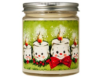 Christmas Candle, Personalized Candle, Holiday Candle, Scented Candle, Soy Candle,Christmas Decor, Christmas Gift, Anthropomorphic