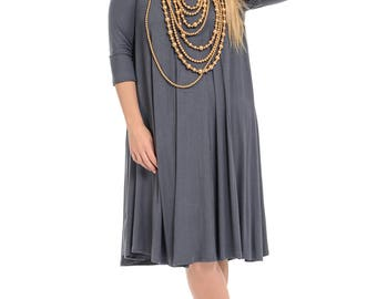 A-Line Trapeze Midi Dress Plus Size Cement